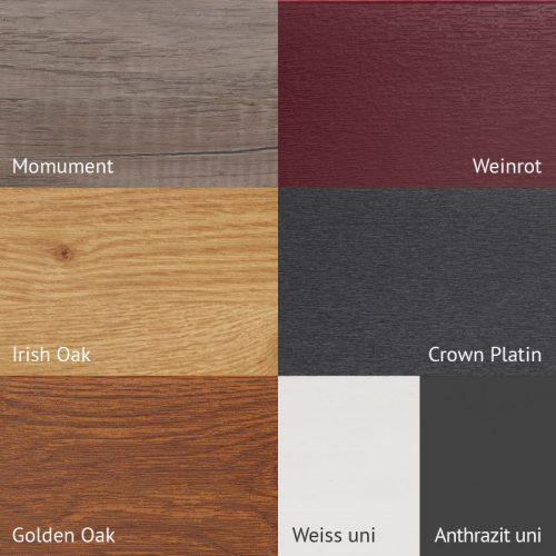 moreplast verfügbare Farben und Dekore